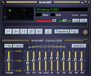 الشكل الضخم لبرنامج WINAMP