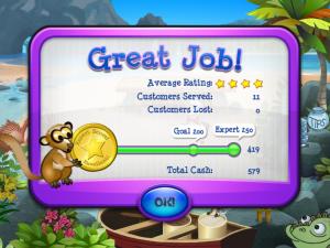 صورة لنهاية المستوى الثالث من لعبة البطريق والايسكريم والحصول على العلامه الكاملة