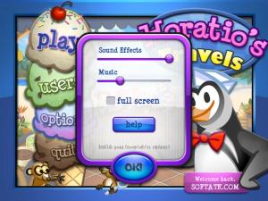 صورة من اعدادات لعبة البطريق بائع الايس كريم