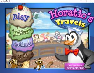 واجهة بداية لعبة البطريق بائع الايس كريم