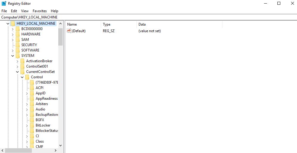 نافذة registry editor